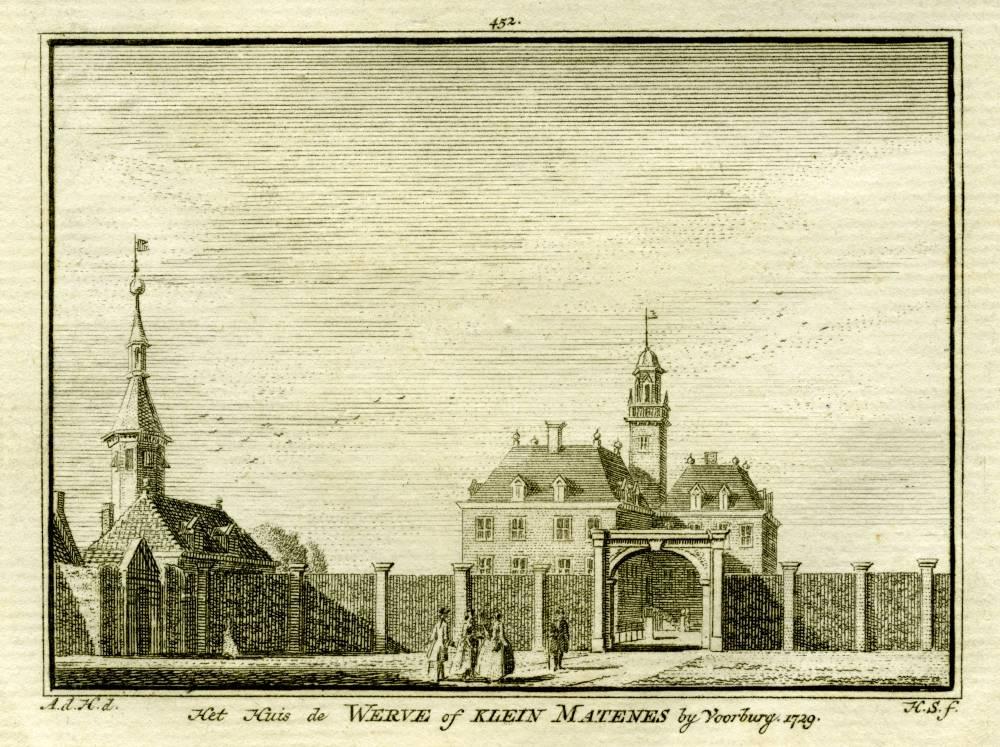Huis De Werve in Voorburg. Tekening Abraham de Haen, gravure Hendrik Spilman (Uit: Het Verheerlykt Nederland, Isaac Tirion, 1745/1774)